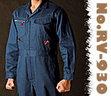 RV-930 綿100% ヘリンボーン柄長袖つなぎ服