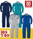 RO-740 エコ素材長袖ツナギ服 二重胸ポケット ペットボトル再生ポリエステル50%以上使用生地