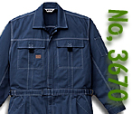 A3670 ワンウォッシュ加工長袖つなぎ服